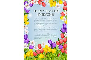 Easter flowers poster vector paschal greeting card