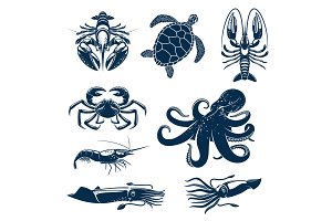 Seafood, marine animal icon set for food design