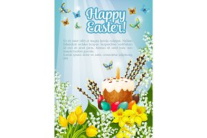 Easter poster vector paschal cake, eggs, flowers