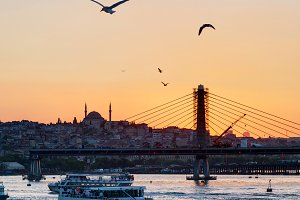Cityscape at sunset, Istanbul