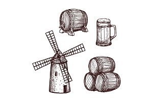 Beer barrel, glass and windmill sketch set