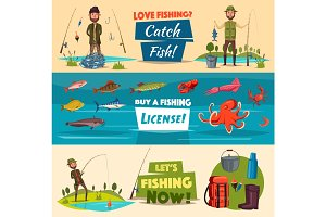 Fishing banner set with fishermen and fish