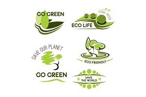 Ecology, nature and environment icon set