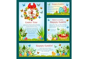Easter holiday greetings banner template design