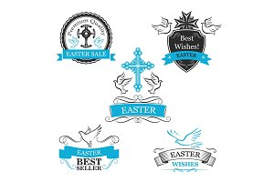 Easter Sale vector paschal discount icons set