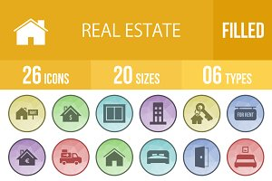 26 Real Estate Filled Low Poly Icons
