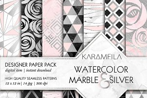 Marble Silver and Pink Patterns