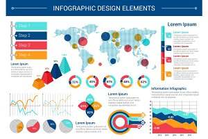 Infographic elements design with world map, charts