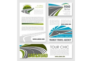Road trip and car travel banner template set