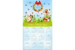 Easter calendar with banner of holiday symbols