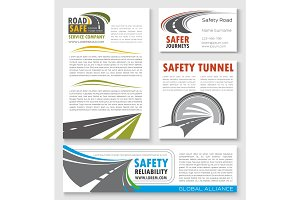Road construction, traffic safety banner template