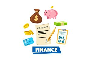 Finance poster with money, banking card and report