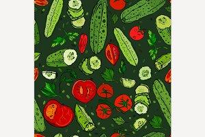 Hand Drawn Cucumber Pattern