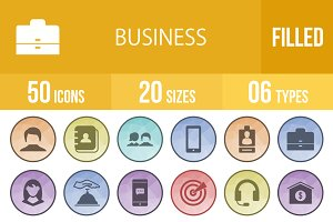 50 Business Filled Low Poly Icons