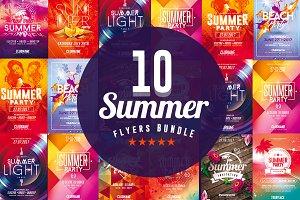 x10 Summer Flyers -Psd Bundle