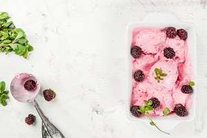 Homemade berry ice cream