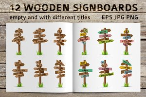 Colored and wooden signboards set