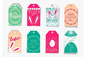 Vector illustration of Easter gift tag set with wishing holiday text