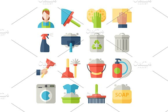 Cleaning Flat Icons