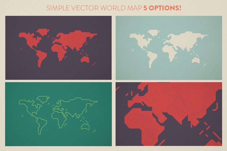 Simple World Map ~ Illustrations ~ Creative Market on blue world map vector, simple world map vector, black white world map vector, detailed world map vector,