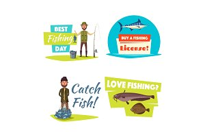 Fishing sport and hobby cartoon icon set design