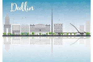 Dublin Skyline with Gray Buildings