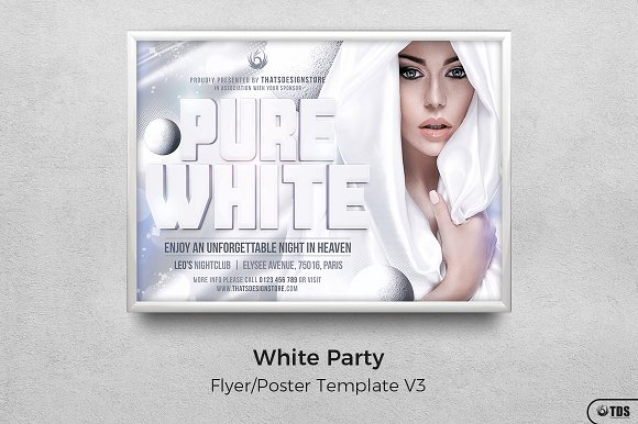 white party flyer template v3 flyer templates creative market