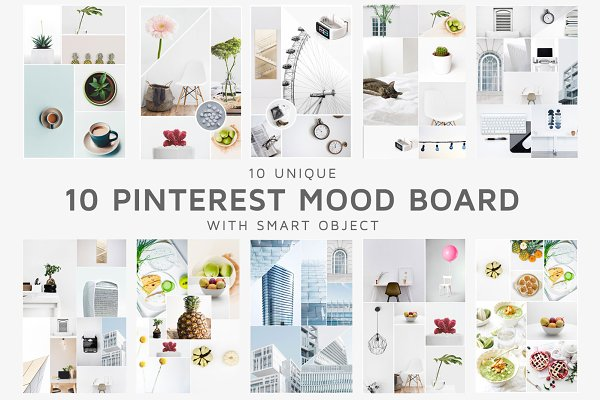 Pinterest Templates: Creativetacos - 10 Pinterest Mood Board Templates V1