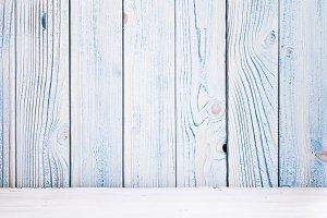 Wooden blue background