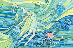 Mermaid and jellyfish