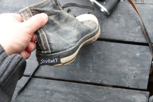 Journey label and vintage gray sneaker shoes
