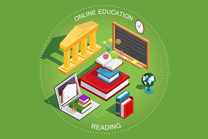 Online education Isometric