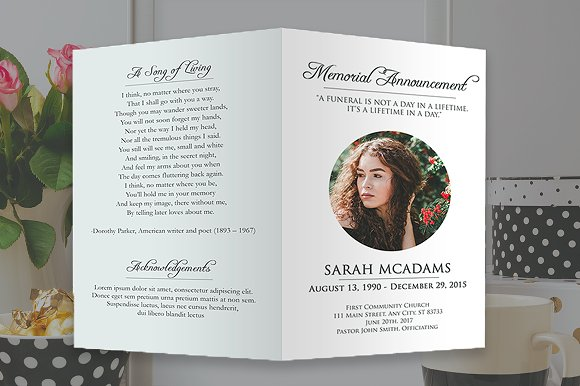 funeral program photoshop template brochure templates creative