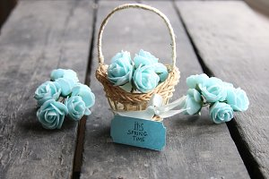 Its spring Time idea, spring flowers in a small basket