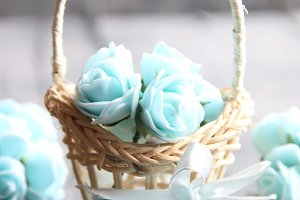 Its spring Time concept, spring flowers in a small basket