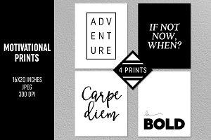 4 Motivational Prints Set