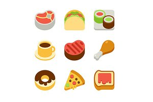 isometric fast food icons