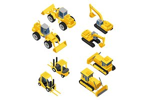 mining machinery isometric icons