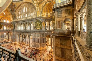 Tourists visiting the Hagia Sophia