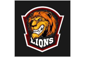Mascot Lions - sport team logo template. Lion head on the shield. T-shirt graphic, badge, emblem, sticker.