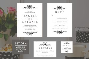 Wedding Invitation Template 4-Pack