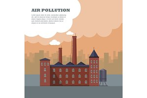 Air Pollution Banner. Factory with Smog Pipes