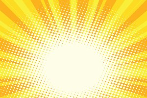 Yellow gold cartoon sunrise pop art background