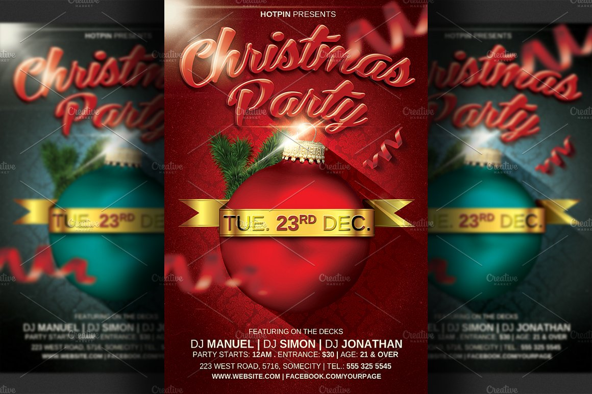 christmas party flyer template v2 flyer templates creative market