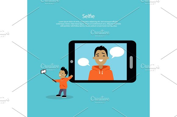 Selfie Concept Vector Illustration