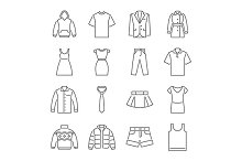 Clothes thin line icons