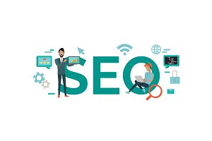 SEO Technology Vector Concept in Flat Style Design