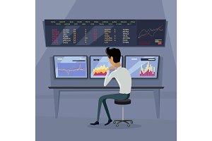 Modern Online Trading Technology Illustration.