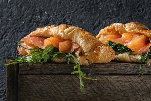 Croissant with salmon