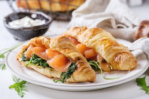 Two croissant with salmon